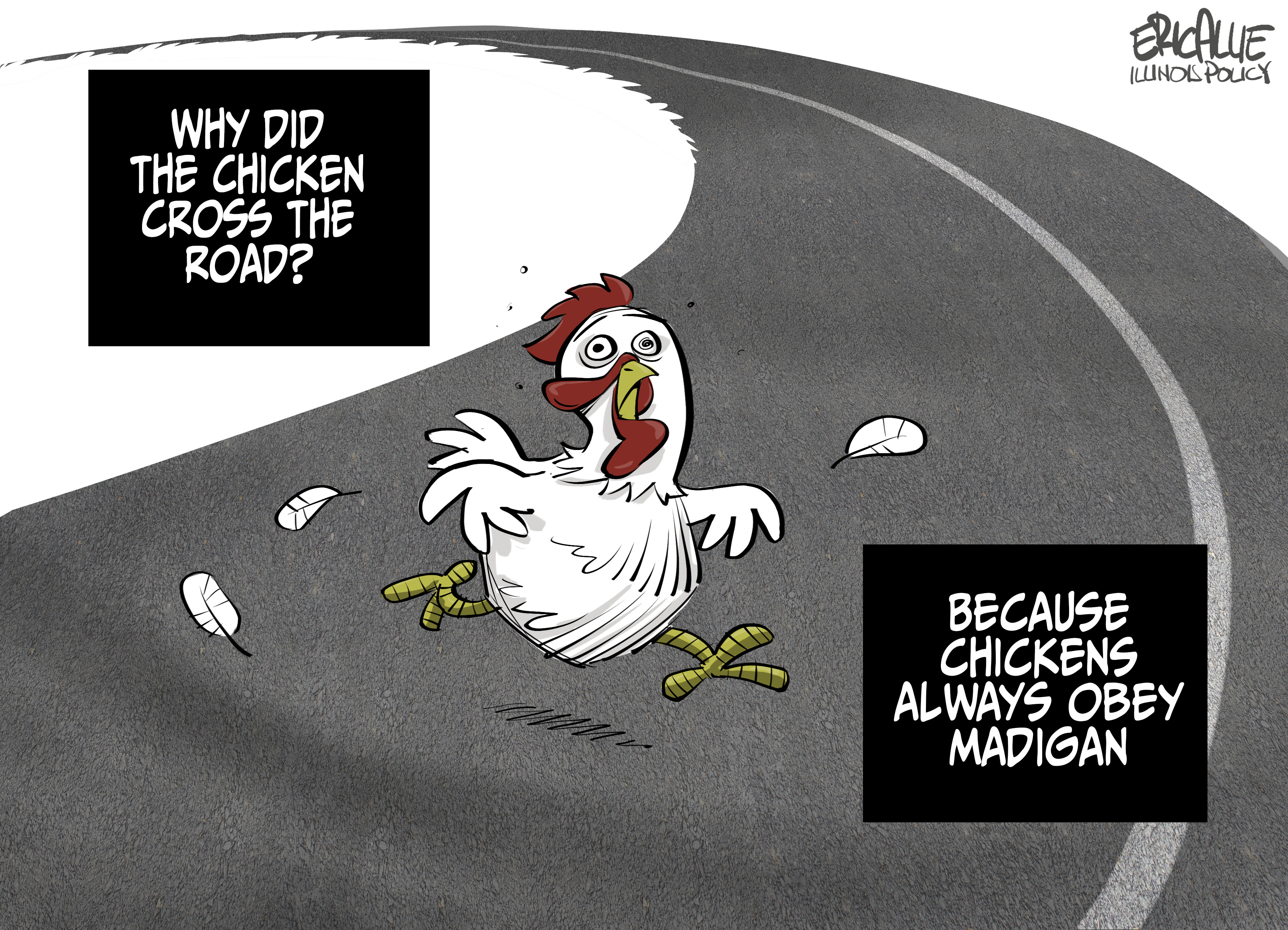 why did the chicken cross the road because mike madigan