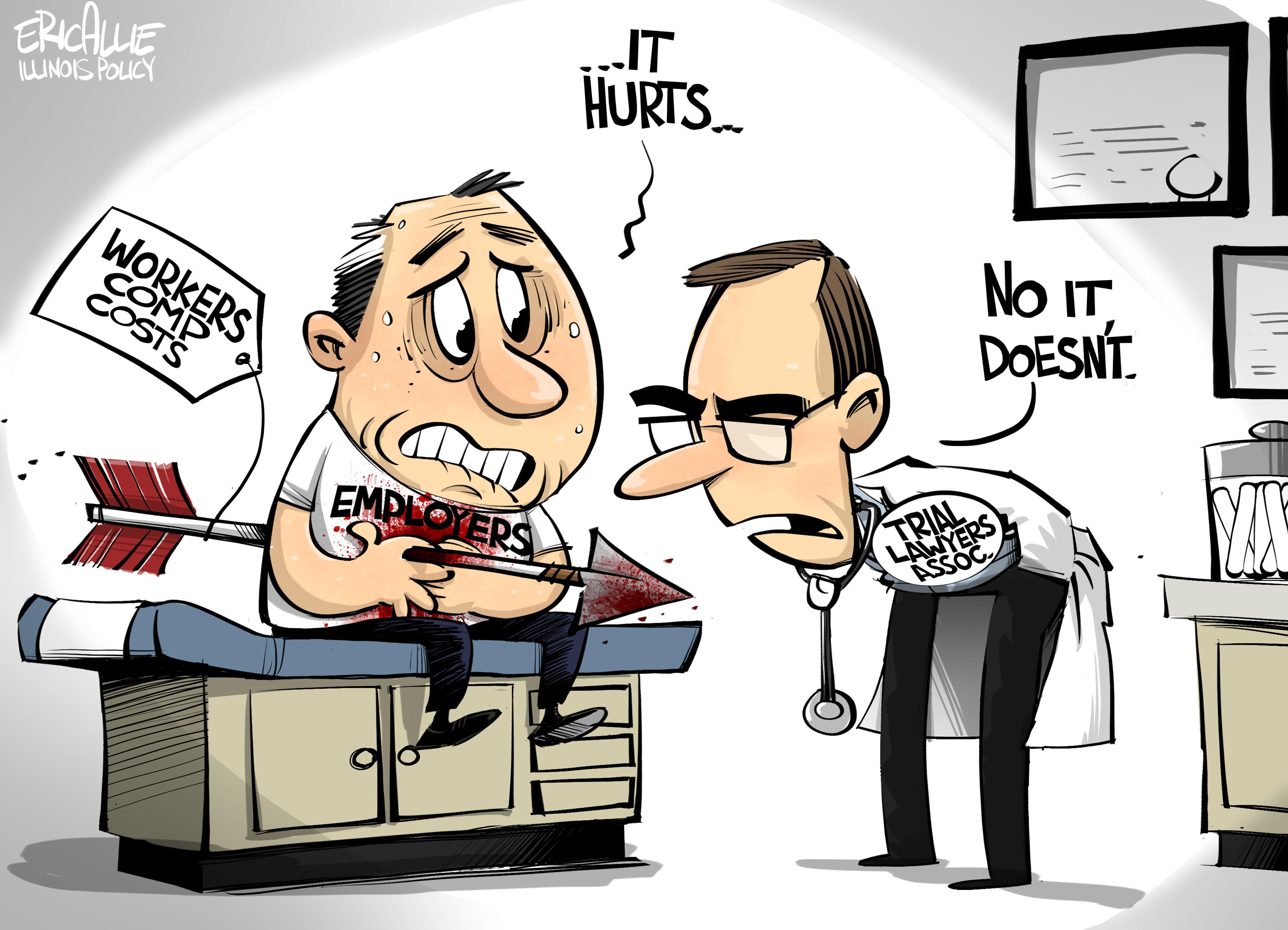 Illinois workers compensation wound – Eric Allie Cartoon