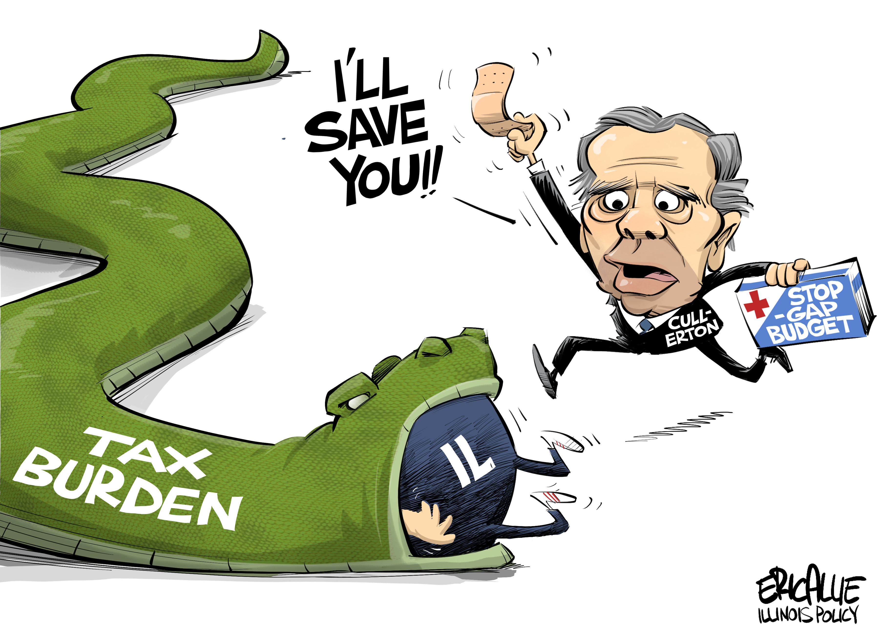 Illinois stopgap budget – Eric Allie Cartoon