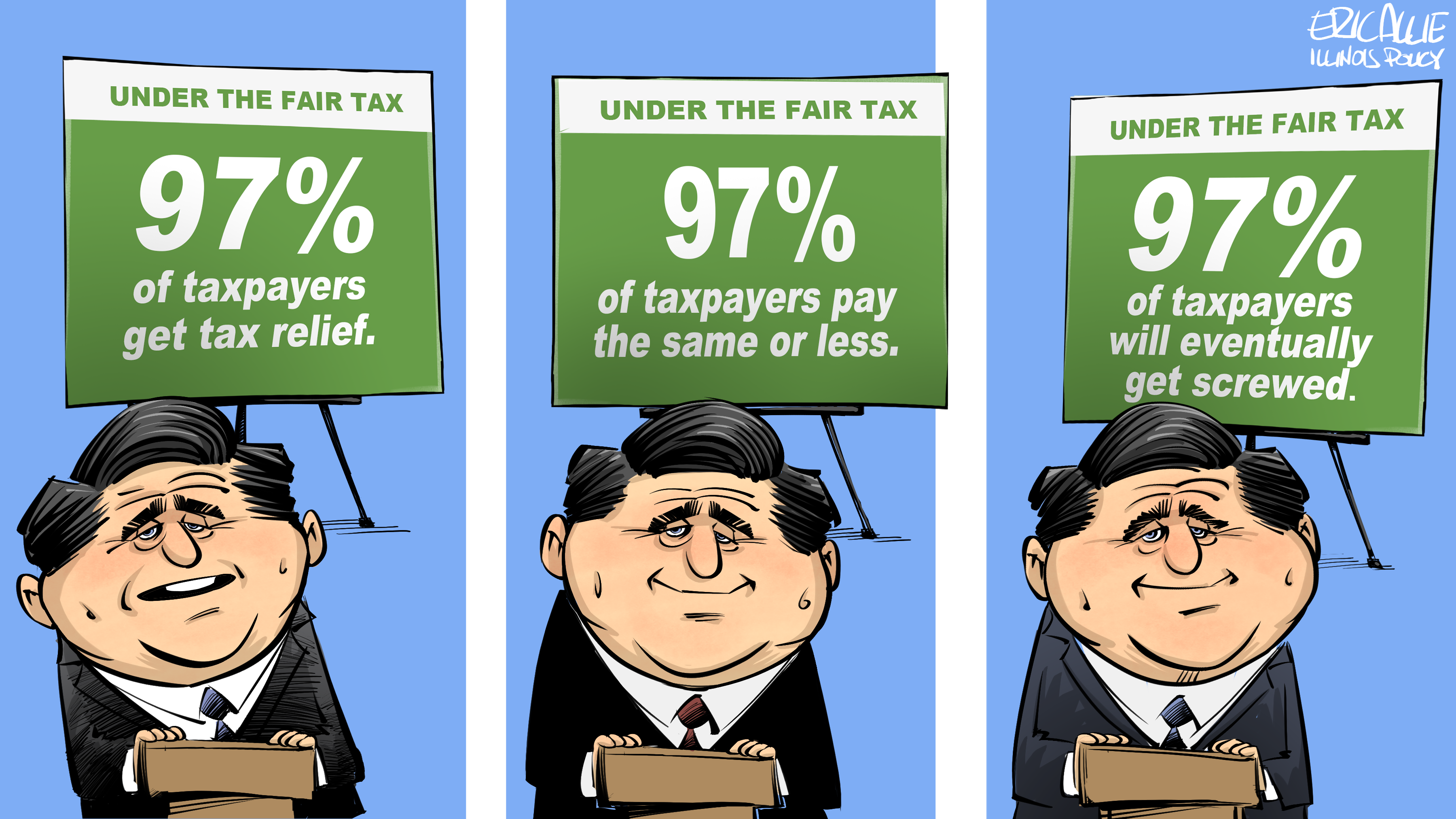 "Pritzker's ""fair tax"" signs"