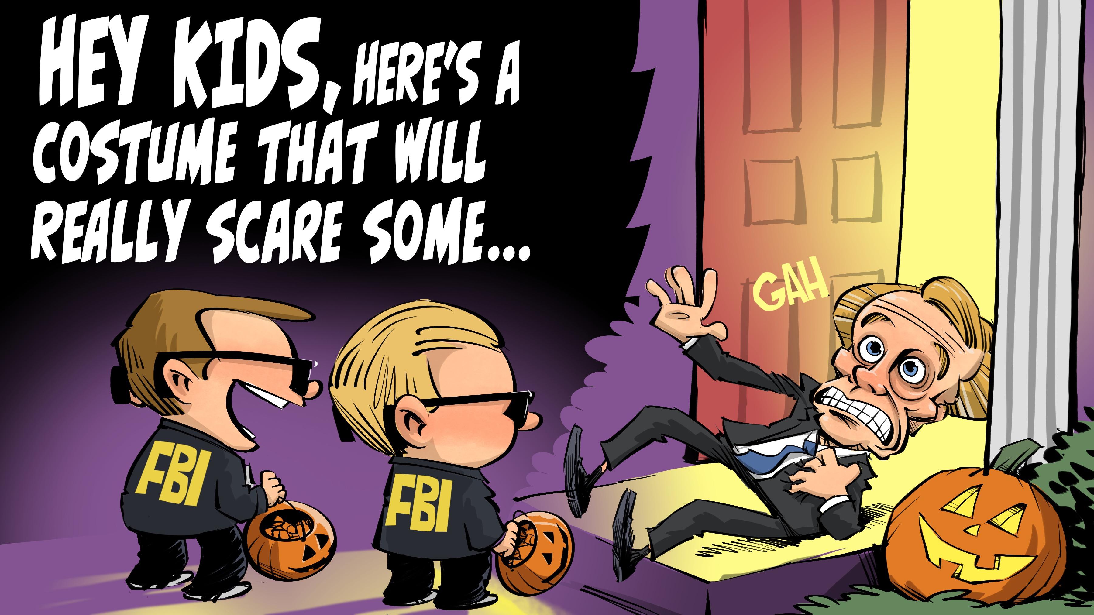 FBI Halloween costumes at Madigan's house